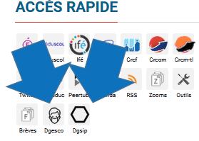 Flèches indiquant les 2 nouveaux boutons de la zone d'accès rapide (FAQ de la Dgesco et de la Dgisp)